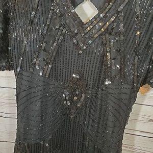 Stenay Dresses - Vintage Sequin Beaded Dress Open Back Sz 4 Black